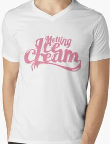 Melting Ice Cream Typography Font Pink Cute Mens V-Neck T-Shirt