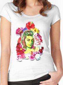 Beautiful Flower hippy girl Women's Fitted Scoop T-Shirt