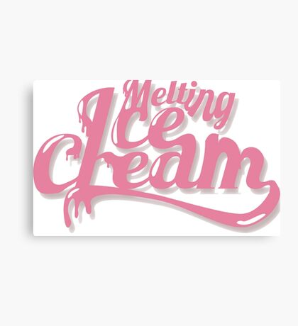 Melting Ice Cream Typography Font Pink Cute Canvas Print