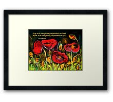 Praying and Working Framed Print
