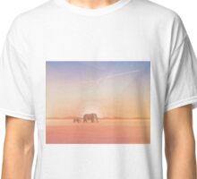 Elephants journey through desert landscapes of Africa Classic T-Shirt