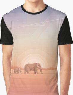 Elephants journey through desert landscapes of Africa Graphic T-Shirt