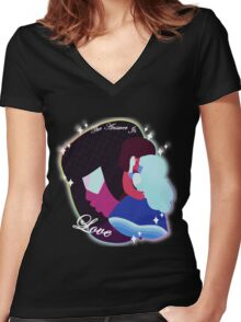 Steven Universe - The Answer Is Love Women's Fitted V-Neck T-Shirt