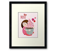 Girl & cupcake Framed Print