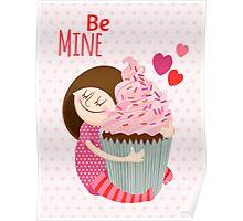 Girl & cupcake Poster