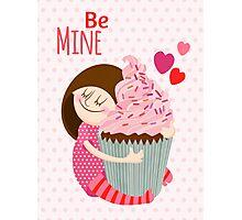 Girl & cupcake Photographic Print