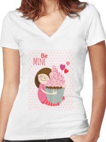Girl & cupcake Women's Fitted V-Neck T-Shirt