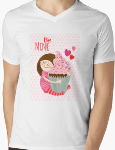 Girl & cupcake Mens V-Neck T-Shirt