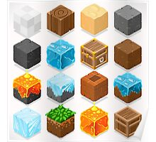 Mine Cubes Elements Isometric Poster