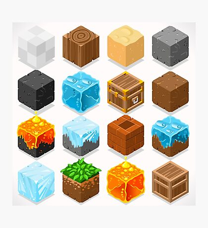 Mine Cubes Elements Isometric Photographic Print