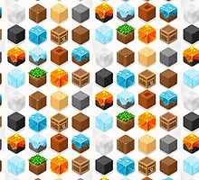 Mine Cubes Elements Isometric by aurielaki