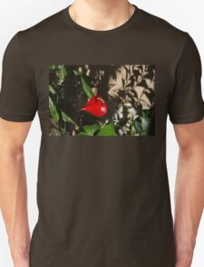 Glossy Scarlet Heart in the Shadows - an Elegant Anthurium Flower T-Shirt