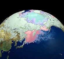Planet Earth showing snow, sea, ice. by StocktrekImages
