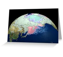 Planet Earth showing snow, sea, ice. Greeting Card