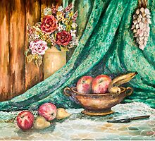 Fruit and Flower Still Life - Painting by Qnita