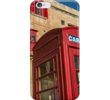 Red telephone cabin in the old town of Vialleta iPhone Case/Skin