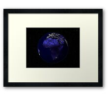 Full Earth at night showing Africa and Europe. Framed Print