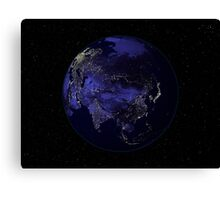 Full Earth at night showing city lights centered on Asia. Canvas Print
