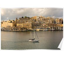 View of Southern Harbour District,Valleta,Malta Poster