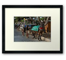 Row of horse with carriages in Mdina, Malta Framed Print