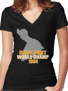 Duck Hunt Gaming Quote Women's Fitted V-Neck T-Shirt