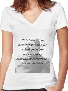 High Principle - Grover Cleveland Women's Fitted V-Neck T-Shirt