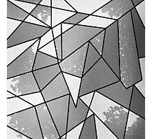 Cool Modern Black & Gray Distressed Geometric Pattern Photographic Print