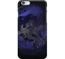 Full Earth at night showing city lights centered on Europe. iPhone Case/Skin