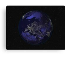 Full Earth at night showing city lights centered on Europe. Canvas Print
