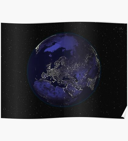 Full Earth at night showing city lights centered on Europe. Poster