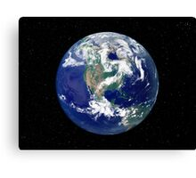Fully lit Earth centered on North America. Canvas Print