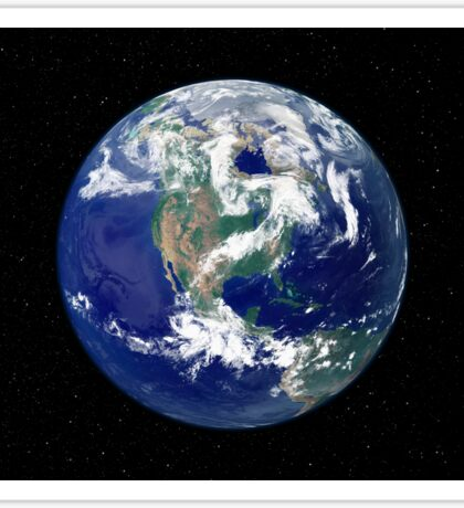 Fully lit Earth centered on North America. Sticker
