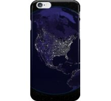 Full Earth at night showing city lights centered on North America. iPhone Case/Skin