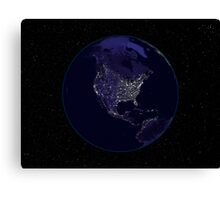 Full Earth at night showing city lights centered on North America. Canvas Print