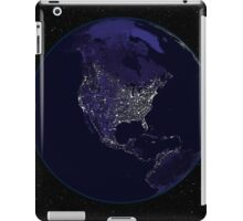 Full Earth at night showing city lights centered on North America. iPad Case/Skin