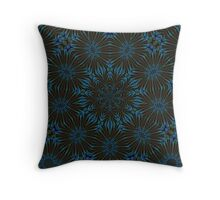 Teal and Brown Floral Abstract Throw Pillow