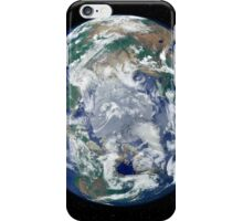 Fully lit Earth centered on the North Pole. iPhone Case/Skin