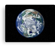 Fully lit Earth centered on the North Pole. Canvas Print