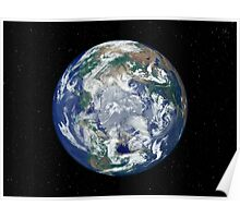Fully lit Earth centered on the North Pole. Poster