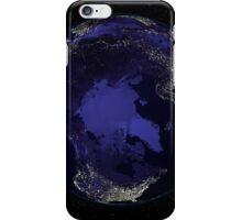 Full Earth at night showing city lights centered on the North Pole. iPhone Case/Skin