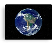 Fully lit Earth centered on South America. Canvas Print