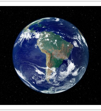 Fully lit Earth centered on South America. Sticker