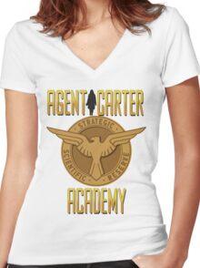 AGENT CARTER ACADEMY Women's Fitted V-Neck T-Shirt