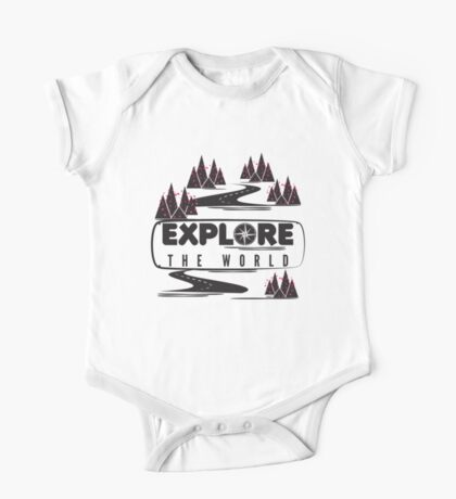 Explore the world. Typography One Piece - Short Sleeve