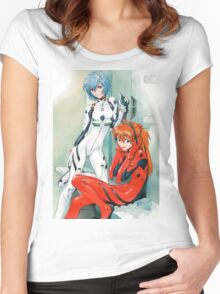 Evangelion - Rei and Asuka Women's Fitted Scoop T-Shirt