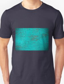 Turquoise cracked wood texture background  T-Shirt