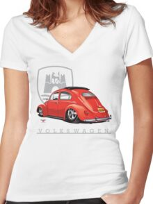 Oval Ragtop Bug Women's Fitted V-Neck T-Shirt