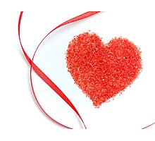 Sugar Sprinkles Heart and Red Ribbon Photographic Print