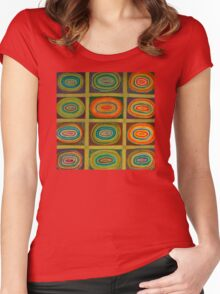 Ringed Ovals within Hatched Grid Women's Fitted Scoop T-Shirt