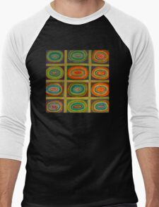 Ringed Ovals within Hatched Grid Men's Baseball ¾ T-Shirt